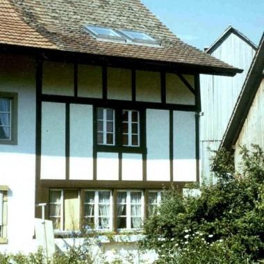 """Sanierung Flarzhaus """"Fässler"""", Niederesslingen, Esslingen ZH (17.Jh.); 1972"""